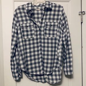 Grey & White Oversized Flannel Button-Up